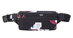 521s Fashion Waist Bag Cute Fanny Pack   8.0″x2.5″x4.3″   Magnolia, Black