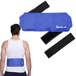 Back Waist Pain Ice Pack Wrap, Soft & Flexible Reusable Gel Cold & Hot Therapy Pad with  ...
