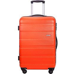 Merax Aphro 24inch Checking in Luggage Lightweight ABS Spinner Suitcase (Orange)