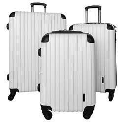 3 PC Luggage Set Durable Lightweight Spinner Suitecase LUG3 9018 WHITE