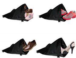 Smartek Black Nylon Water-repellent Multipurpose Shoe Bags (Set of 4)
