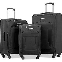 Flieks 3 Piece Luggage Set Expandable Spinner Suitcase (Black Color)