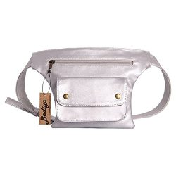 Badiya Couples Multifunction Black PU Leather Waist Packs with Cell Phone Pouch (Silver)
