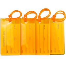 4 Pack TravelMore Luggage Tags For Suitcases, Flexible Silicone Travel ID Identification Labels  ...
