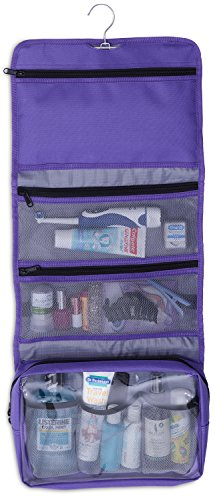 Hanging Makeup Organizer Cosmetic Travel Bag Hanging Toiletry Bag, Purple