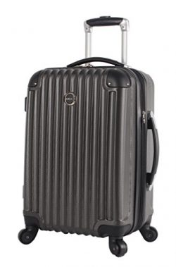 Lucas Outlander Carry On Hard Case 20 inch Expandable Rolling Suitcase With Spinner Wheels (20in ...