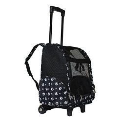 World Traveler Women's 18″ Rolling Pet Carrier Convertible Fashion Backpack, Black W ...