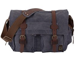 Berchirly Military Canvas Shoulder Messenger Bag Leather Straps for 17.3Inch Laptop