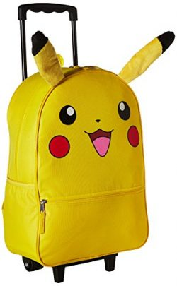 Pokemon Pikachu 3D Back to School Rolling Backpack – Anime Character Book Bag with Plush E ...