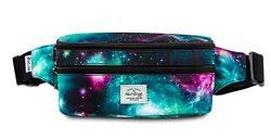 521s Fashion Waist Bag Cute Fanny Pack   8.0″x2.5″x4.3″   Galaxy