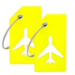 Silicone Luggage Tag With Name ID Card Perfect to Quickly Spot Luggage Suitcase (Yellow)