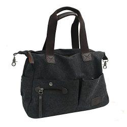 Lonson Unisex Canvas Shoulder Bag Travel Bag Crossbody Weekend Shopping Totes Work Bags (Black)