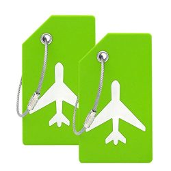 Silicone Luggage Tag With Name ID Card Perfect to Quickly Spot Luggage Suitcase (Plane 2Pcs Green)