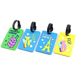 Luggage Tags Unique Fashion Cute 3D Cartoon Design 4 Pieces In 1 Package For Travel Suitcases Ba ...