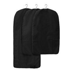 Ikea Skubb Garment Bag Set of 3 Black Closet Clothes Covers Travel Storage