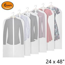 Univivi Garment Bag 48 inch Suit Bag for Storage(Set of 6) for Dress Suits Coats