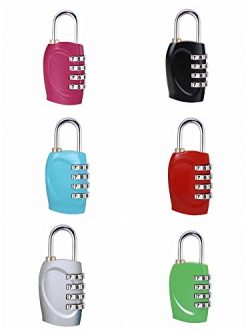 ZHW 4 Digit Combination Steel Padlocks – Approved Travel Lock for Suitcases & Baggage  ...