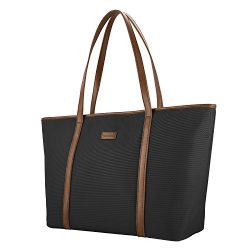 CHICECO Basic Large Travel Tote Shoulder Bag – Black Brown