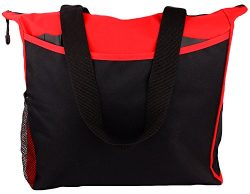 Tote Bag 17 Inches Travel Shopping Business Handle Carrier by MakExpress (Red)