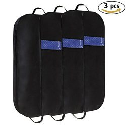 Poever 42″ Portable Foldover Garment Bag Set of 3, Breathable Suit Bag with Handles and Gu ...