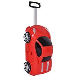 Goplus Kids Suitcase Car Shape w/ 2.4G Radio Remote Control Toddler Trolley Luggage (Red)