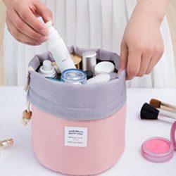DDLBiz Cosmetic Jewelry Wash Hanging Toiletry Makeup Travel Drawstring Storage Bag Case (Pink)