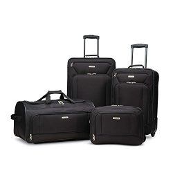 American Tourister Fieldbrook Xlt 4pc Set (Bb/Wh Dfl/21/25 Upright), Black