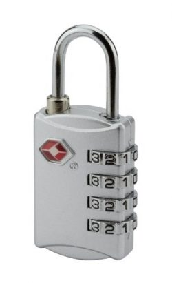 Travel Sentry Security Luggage Padlock 4 Dial Combination (Silver)