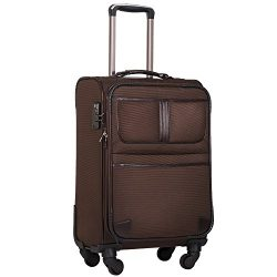 Coolife Luggage Expandable Suitcase Spinner Softshell TSA Lock (S(20in), Brown.)