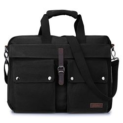 S-ZONE Canvas 17-Inch Laptop Messenger Bag Multicompartment Travel Shoulder Bag Briefcase (Black)