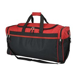 DALIX 25″ Extra Large Vacation Travel Duffle Bag in Red and Black