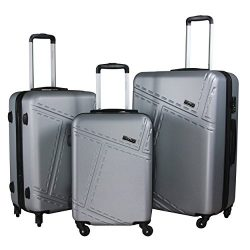 3 PC Luggage Set Durable Lightweight Spinner Suitecase LUG3 1610 SILVER