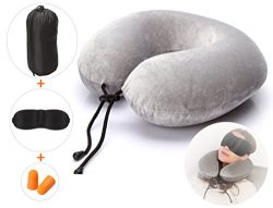 Ultra Comfortable Travel Pillow with Memory Foam and Soft Cover, Plus Travel Accessories: Sleep  ...