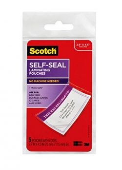 Scotch Self-Sealing Laminating Pouches, Bag Tags with Loops, Glossy, 5 Pouches (LS853-5G)