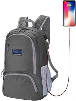 Vitino Backpack With USB Charging Port Water Resistant Lightweight Packable Backpacks for Travel ...