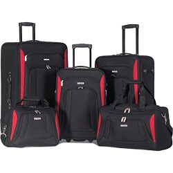 Flieks 5 Piece Luggage Set Deluxe Expandable Rolling Suitcase (Black)