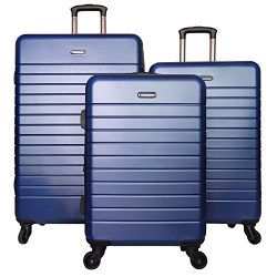 3 PC Luggage Set Durable Lightweight Spinner Suitecase LUG3 SK0040 BLUE
