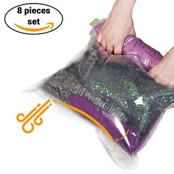 8 Travel Space Saver Storage Bags for Clothes – No Vacuum or Pump Needed – Reusable  ...