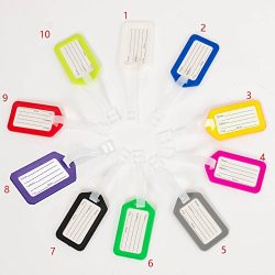 10 Pack – Waterproof Luggage Tags Travel Labels Airline ID Card for Suitcase Bags –  ...