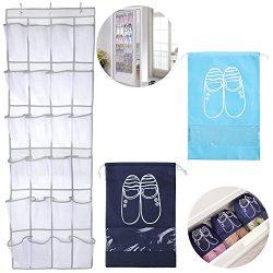 SENHAI Over the Door Shoe Organizer, 65″ x 18.5″, 24 Visible Mesh Fabric Pockets Han ...