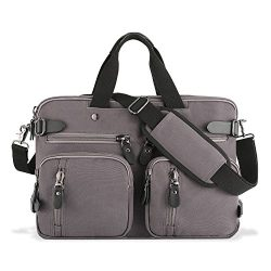 Plambag Canvas Briefcase Backpack, Convertible 15″ Laptop Messenger Bag(Gray)