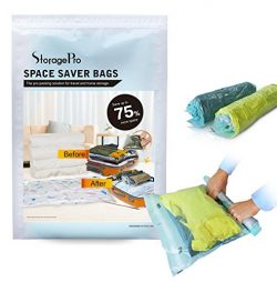 15 Travel Space Saver Bags by StoragePro, Hand Rolling (No Vacuum Needed) Anti-Leak Bags in Mult ...