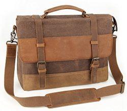 Tocode Men's Messenger Bag 14 Inch, Vintage Waxed Canvas Genuine Leather Shoulder Bag, Water Res ...