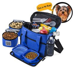 Dog Travel Bag – Week Away Tote For Small Dogs – Includes Bag, 2 Lined Food Carriers ...