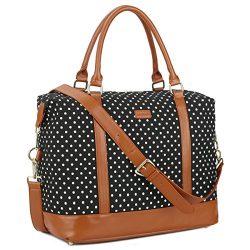 BAOSHA HB-28 Ladies Women Canvas Travel Weekender Bag Overnight Carry-on Shoulder Duffel Tote Ba ...