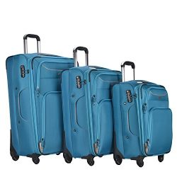 3 PC Luggage Set Durable Lightweight Soft Case Spinner Suitecase LUG3 RS3049 BLUE