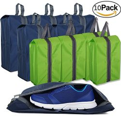 10Pcs Waterproof Shoe Bags for Travel Zipper Storage Gym Bag Nylon for Men Women