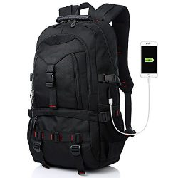 Tocode Water Resistant Laptop Backpack with USB Charging Port Fits up to 17-Inch Laptop Black I