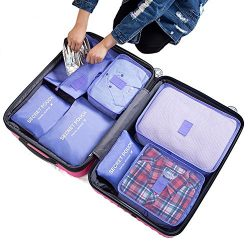 7Pcs Waterproof Travel Storage Bags Clothes Packing Cube Luggage Organizer Pouch (purple)