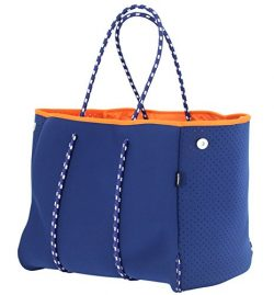 QOGiR Neoprene Multipurpose Beach Bag Tote with Inner Zipper Pocket and Movable Board (Dark Blue)